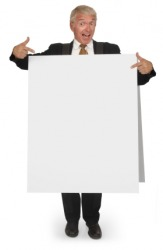 A sandwich man with a blank board.